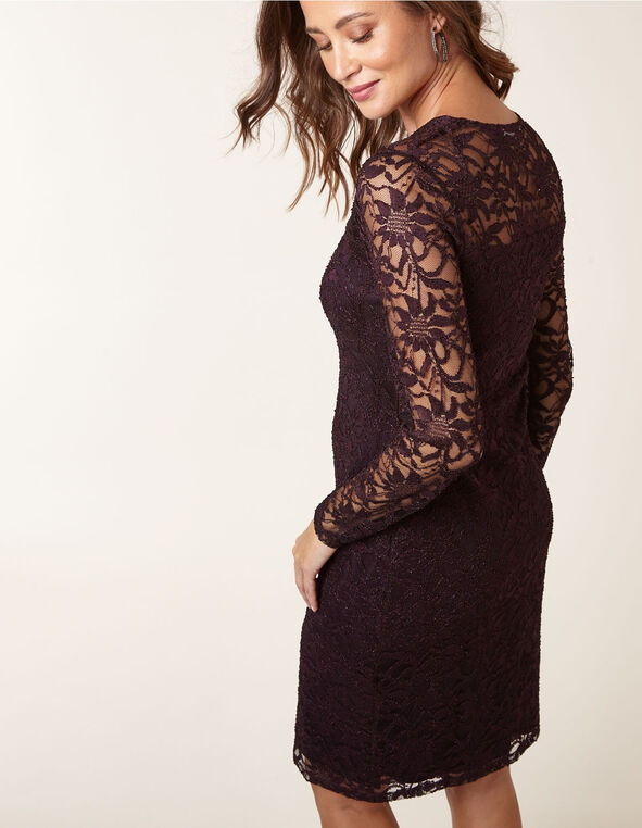 Purple Lace Overlay Sheath Dress, Purple, hi-res