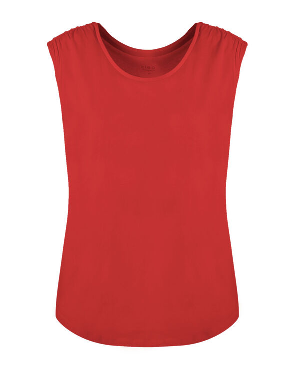 Summer Coral Ruched Cotton Tee, Coral, hi-res