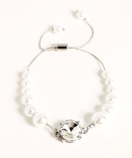 Pearl & Crystal Adjustable Bracelet, Silver/Pearl, hi-res