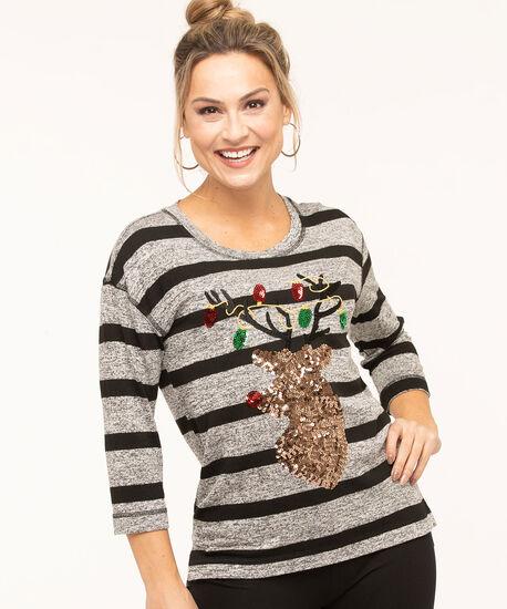 Sequined Reindeer Striped Top, Grey/Black, hi-res
