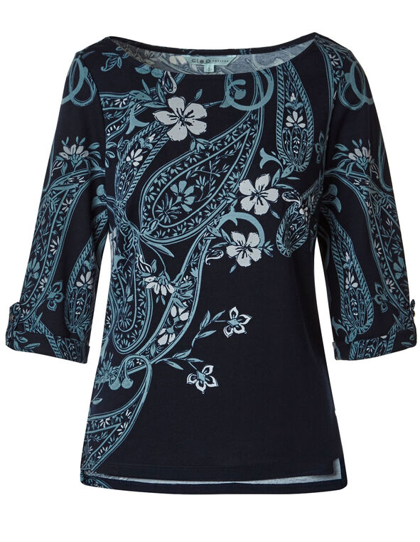 Blue Paisley Printed Top, Blue, hi-res