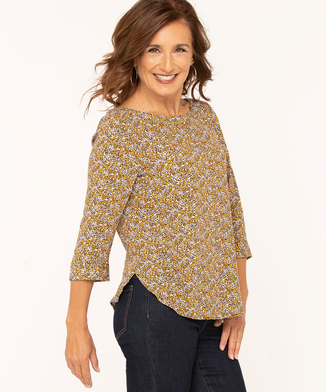 Floral Print Scoop Neck Blouse, Gold, hi-res