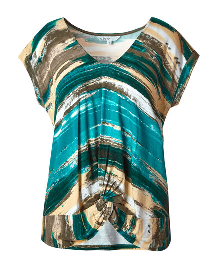 Striped Printed Front Knot Top, Teal/Yellow, hi-res