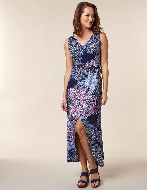 Floral Printed Ruched Maxi Dress, Blue, hi-res