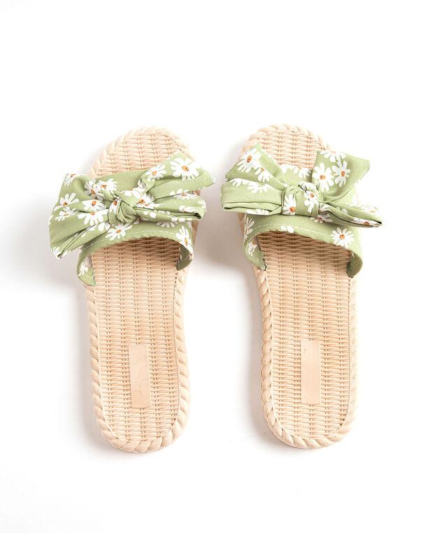 Printed Bow Slide Slippers, Sage Floral