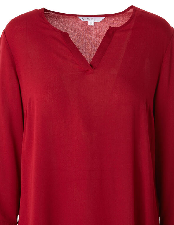 Red Open Neckline Blouse, Red, hi-res
