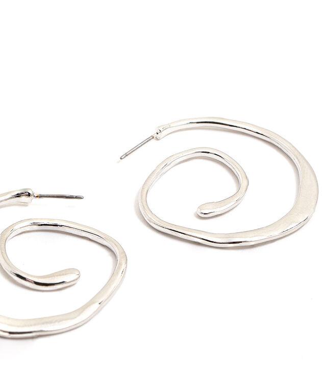 Spiral Hoop Earring, Silver