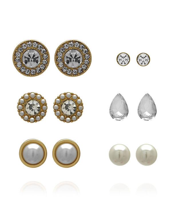 Crystal and Pearl Earring Pack, Gold, hi-res