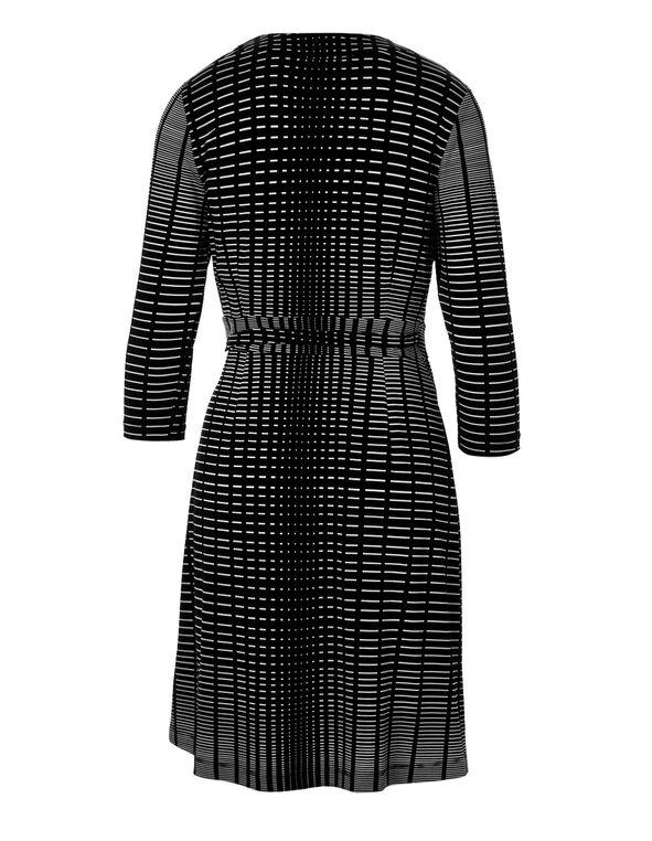 Black Print Wrap Dress, Black/White, hi-res
