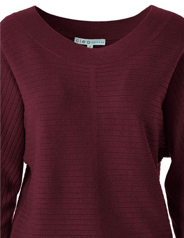 Merlot Ribbed Dolman Sweater, Merlot, hi-res