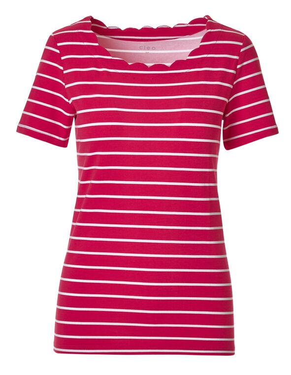Pink Striped Scalloped Tee, Pink Stripe, hi-res
