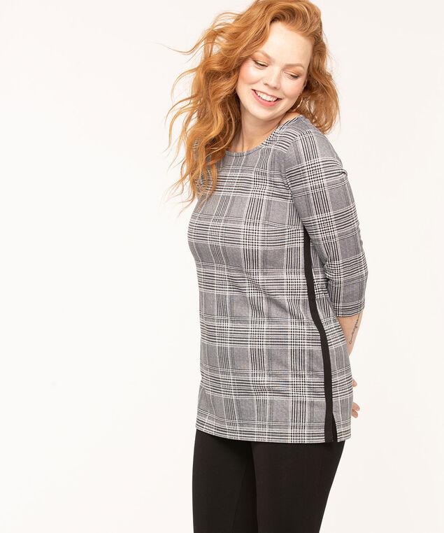 Plaid Contrast Trim Tunic Top, Black/Grey/White, hi-res