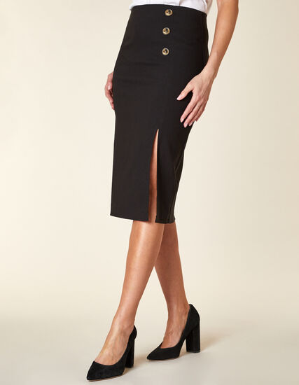 Black Button Pencil Skirt, Black, hi-res