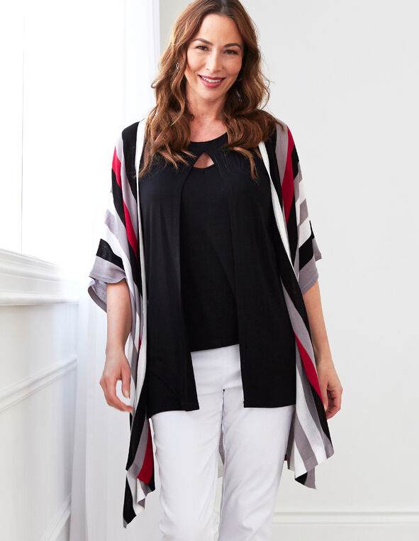 Pink Striped Kimono Sweater, Hot Pink/Black/White/Grey, hi-res