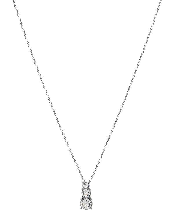 Genuine Crystal Pendant Necklace, Silver, hi-res