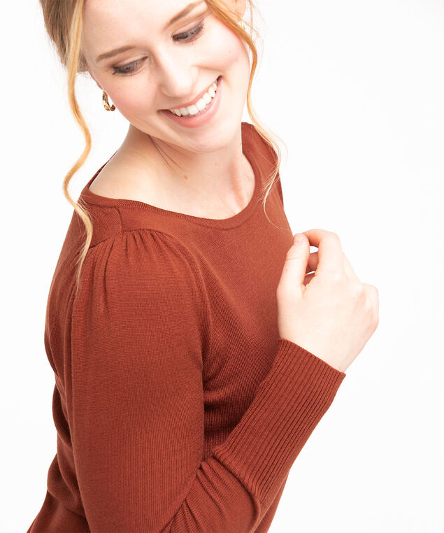 Recycled Boat Neck Pullover Sweater, Rust