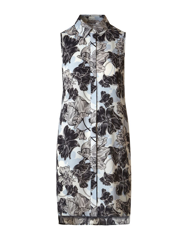 Blue Floral Long Tunic Blouse, Blue/Ivory/Black, hi-res