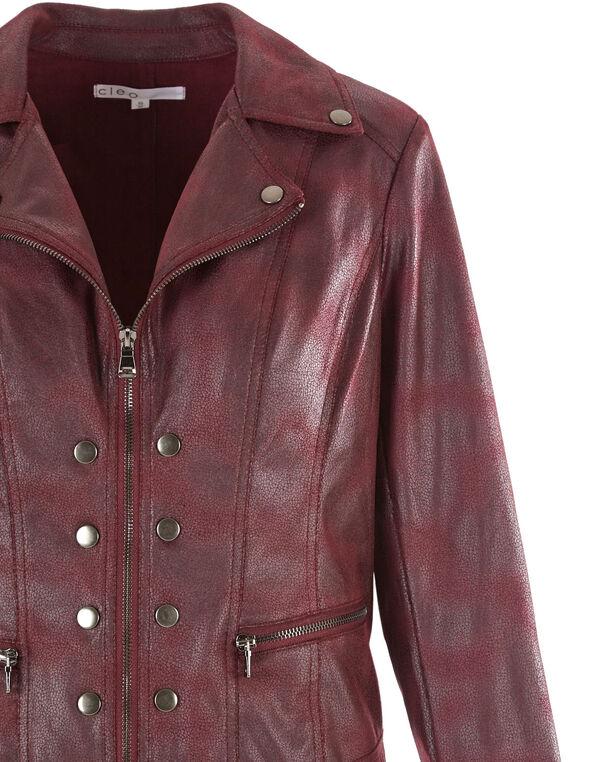 Merlot Faux Suede Moto Jacket, Merlot, hi-res