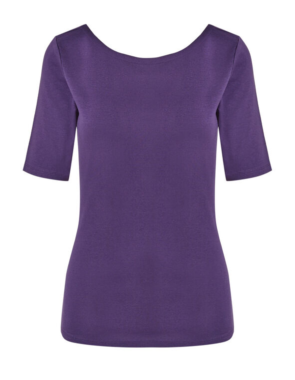 Dark Purple Cotton Tee, Dark Purple, hi-res