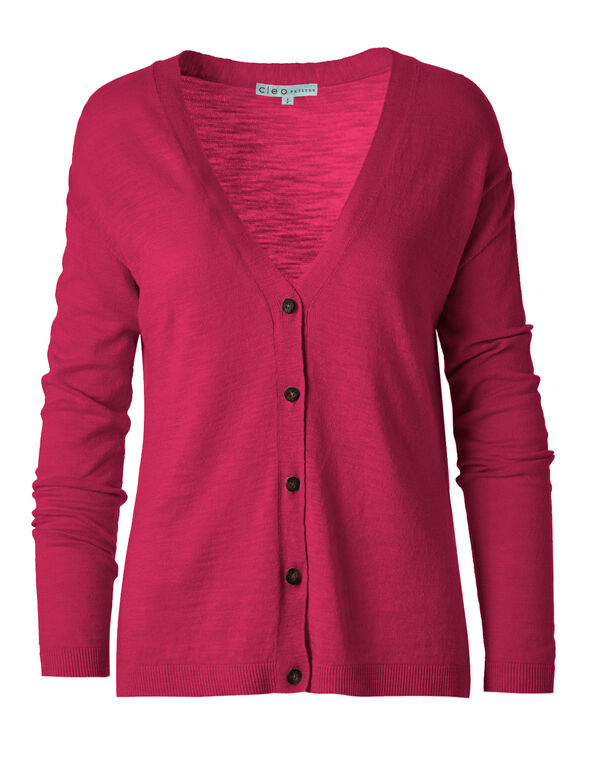 Hot Pink Slub Button Front Cardigan, Hot Pink, hi-res