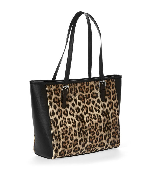 Leopard Printed Tote, Brown, hi-res