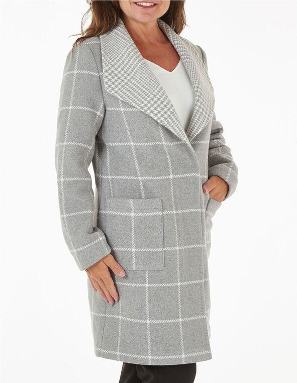 Grey Wool Blend Plaid Coat, Grey, hi-res