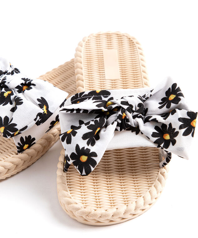 Printed Bow Slide Slippers, White Floral