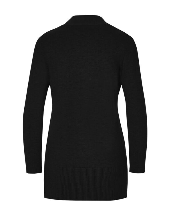 Black Long Cardigan Sweater, Black, hi-res