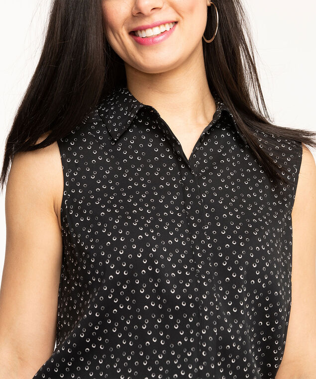 Sleeveless Collared Button Front Blouse, Black/White Circles