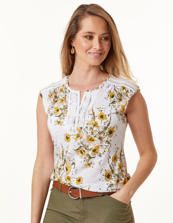Lace Trim Tee, White/Olive/Yellow, hi-res