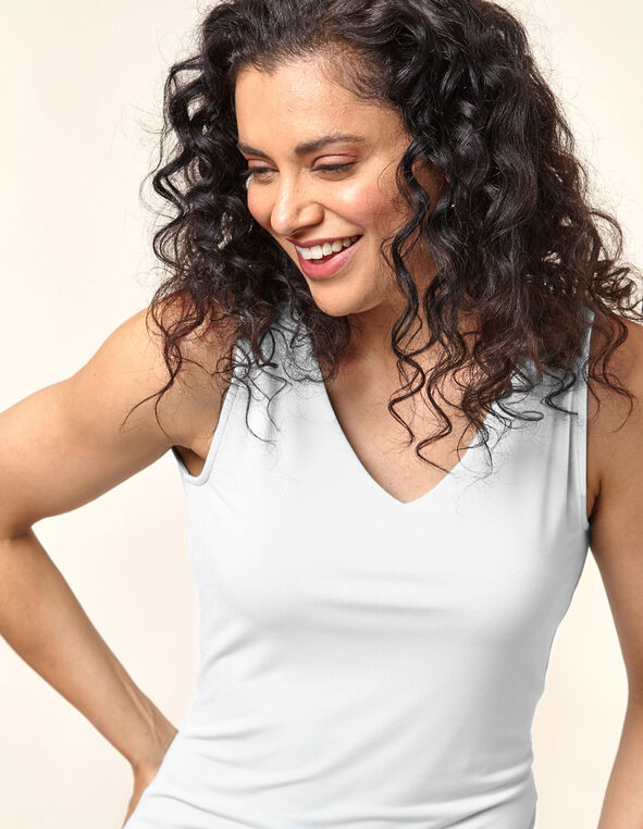 Essential V-Neck Layering Tank, White, hi-res