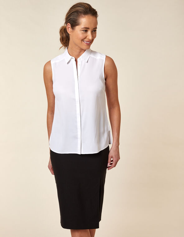 Collared Button Blouse, White, hi-res