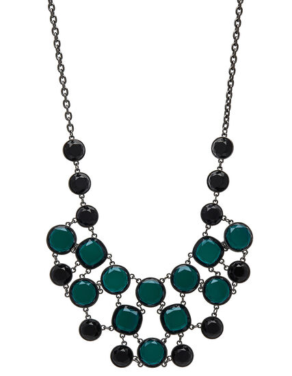 Emerald Gem Stone Statement Necklace, Green, hi-res