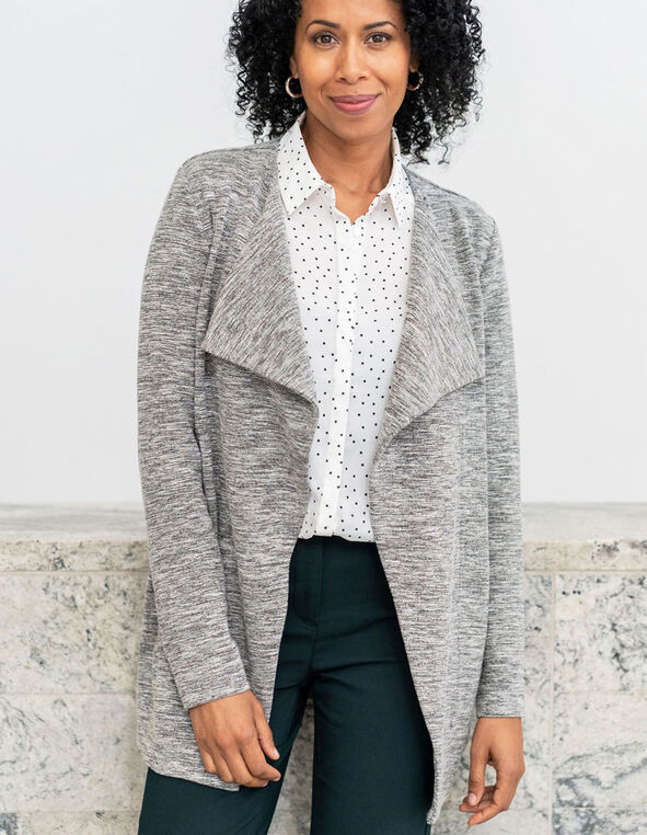 Grey Tweed Draped Blazer, Grey, hi-res