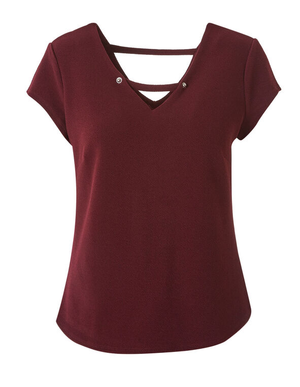 Merlot Bubble Crepe Top, Merlot, hi-res