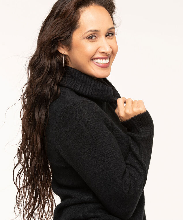 Ribbed Turtleneck Sweater, Black, hi-res