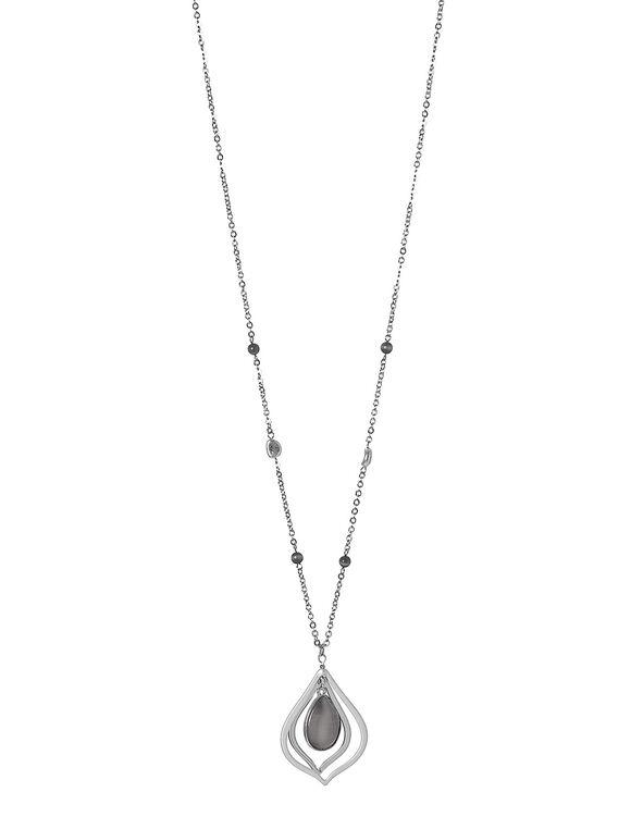 Grey Cat Eye Necklace, Grey/Silver, hi-res