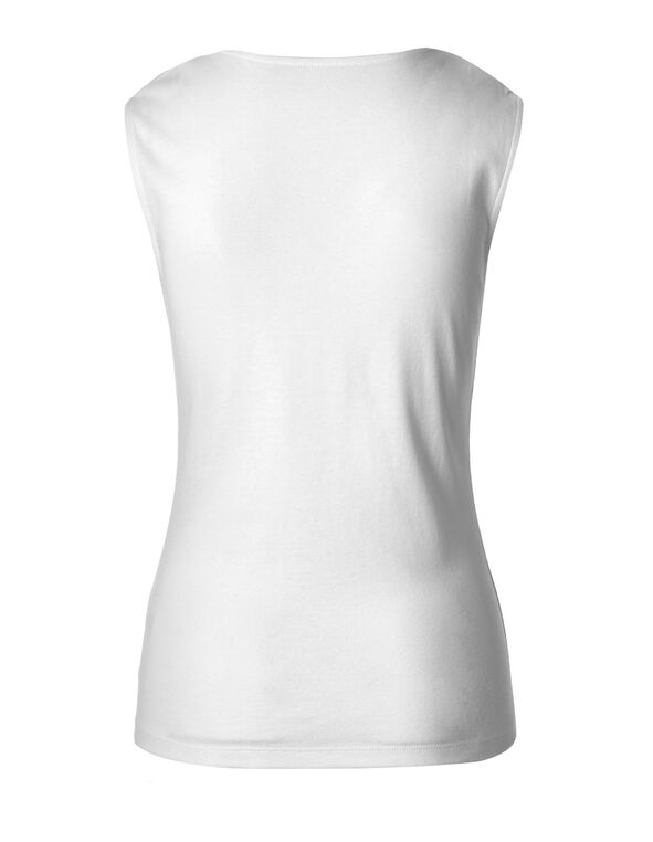 White Lace Shoulder Cotton Tee, White, hi-res