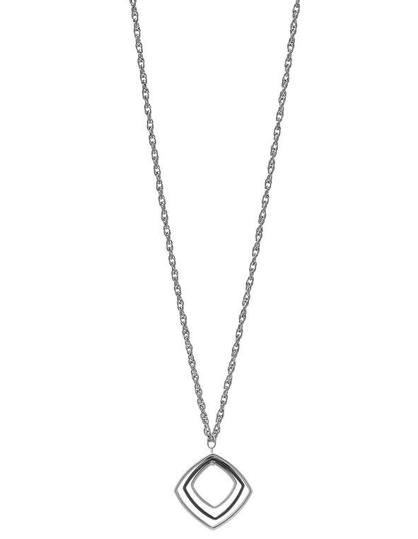 Long Square Pendant Necklace, Silver, hi-res