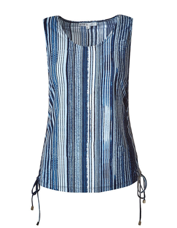 Blue Striped Side Ruched Top, Blue, hi-res