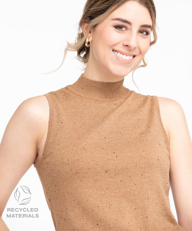 Recycled Mock Neck Sleeveless Sweater, Cider Speckle
