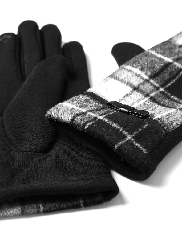 Black Plaid Text Gloves, Black, hi-res