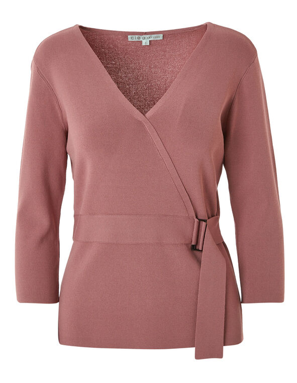 Rose Faux Wrap Pullover Sweater, Rose, hi-res