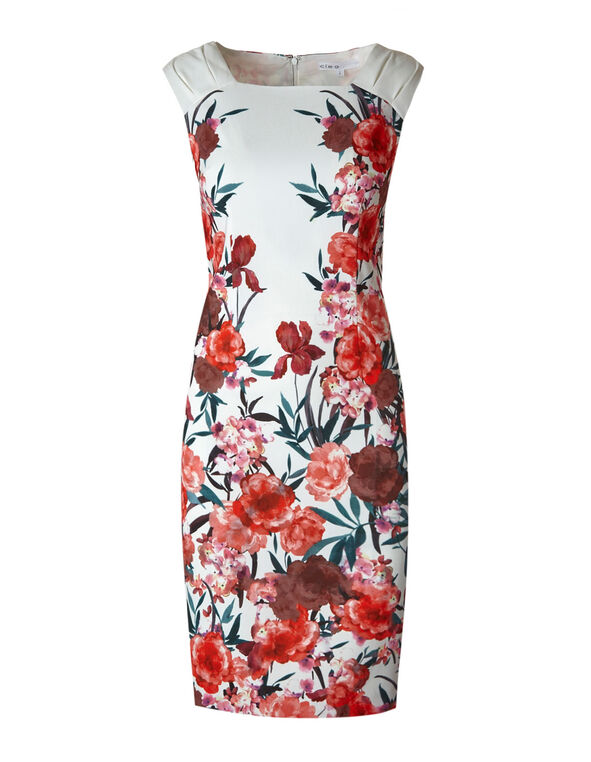 Coral Floral Sheath Dress, Coral/Ivory, hi-res