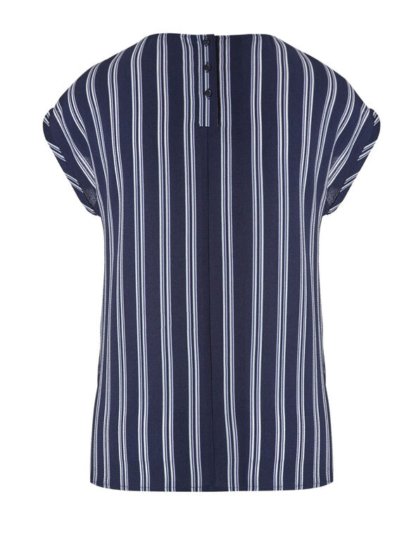 Navy Striped Blouse, Navy, hi-res