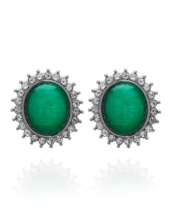 Emerald Cat Eye Oval Earring, Green, hi-res