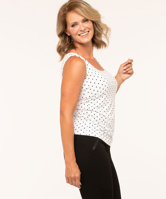Essential Scoop Neck Layering Tank, White/Black, hi-res
