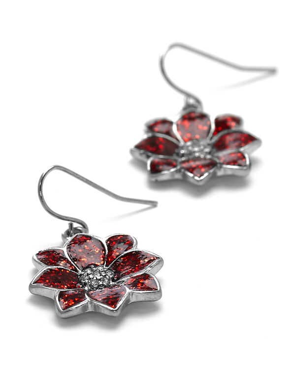 Red Poinsettia Earring, Red, hi-res