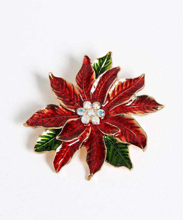 Red Poinsettia Pin, Red/Gold/Green, hi-res