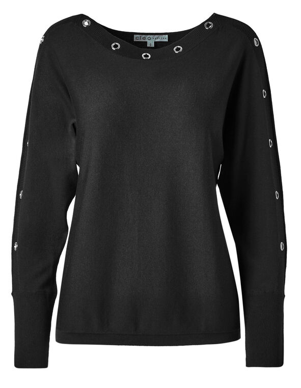 Black Grommet Sweater, Black, hi-res